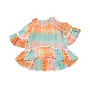 2Tee Couture Tie Dye Cold Shoulder Boho Top